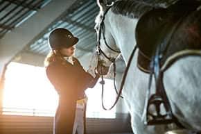 Betriebshaftpflichtversicherung Reitbetriebe – Frau mit Pferd